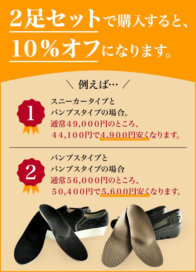 2足セットで購入すると、10%オフになります。